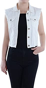 Anna-Kaci Womens Distressed Denim Button Up Sleeveless Crop Vest