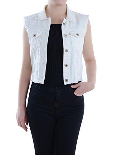 Anna-Kaci Damen Blau Denim Distressed ausgefranst Button Up ärmellos Jeans Jacke Weste (Denim Jean Distressed Jacke)