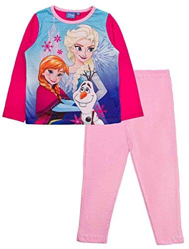 Offizieller Kinder/Mädchen/Jungen-Disney-Frozen-Elsa-Anna-Schlafanzug für Kinder, 2-teiliges Set, lange Ärmel, 100 % Baumwolle Gr. 5-6 Jahre, Pink - Elsa, Anna & Olaf