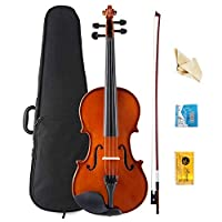 Violin Kit Full Size 4/4 Vintage Solid Wood Violin for Beginner Above 11 Years With Case