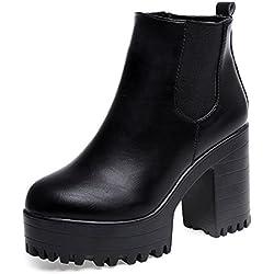 Zapatos de mujer Botines de mujer Talón cuadrado de mujer Martín Botas Mujer Otoño invierno Corto grueso Moda Vendimia Plataformas Cuero Zapatos LMMVP (39, Negro)