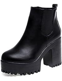 Zapatos de mujer Botines de mujer Talón cuadrado de mujer Martín Botas Mujer Otoño invierno Corto grueso Moda Vendimia Plataformas Cuero Zapatos LMMVP