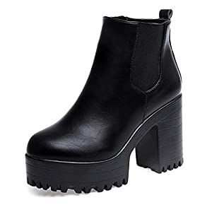 Zapatos de mujer Botines de mujer Talón cuadrado de mujer Ankle Botas Mujer Otoño invierno Corto grueso Moda Vendimia Plataformas Cuero Zapatos LMMVP