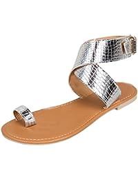 085fbff0b0ee1 OverDose Sandales Plates en Cuir Métallisé, Été Femme Chaussures Bride  Cheville avec Boucles Style Western