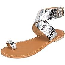 a4f418088b7e1 OverDose Sandales Plates en Cuir Métallisé, Été Femme Chaussures Bride  Cheville avec Boucles Style Western