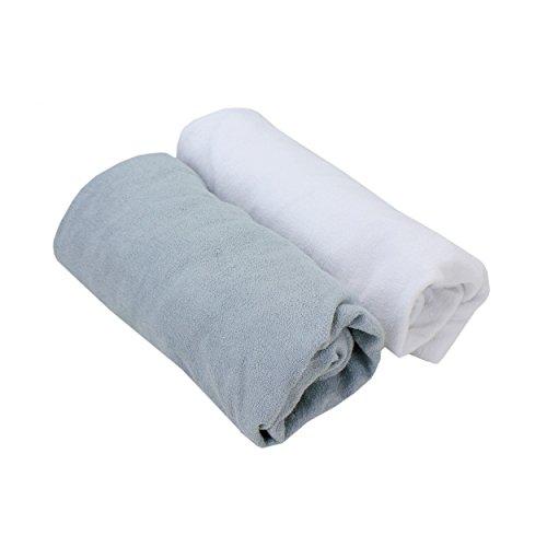 TupTam Babybett Spannbettlaken Frottee 2er Pack, Farbe: Farbenmix 3, Größe: 70 x 140 cm (Frottee Gewebte)