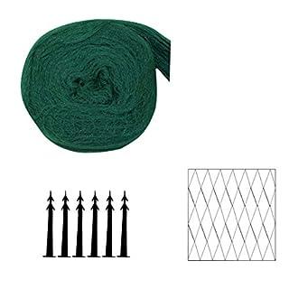 Xclou Teichabdecknetz ca. 2 x 3 m, Teichnetz aus Polyethylen, Laubnetz mit 20 x 20 mm Maschenweite, inkl. 6 Bodenanker, grün-schwarz
