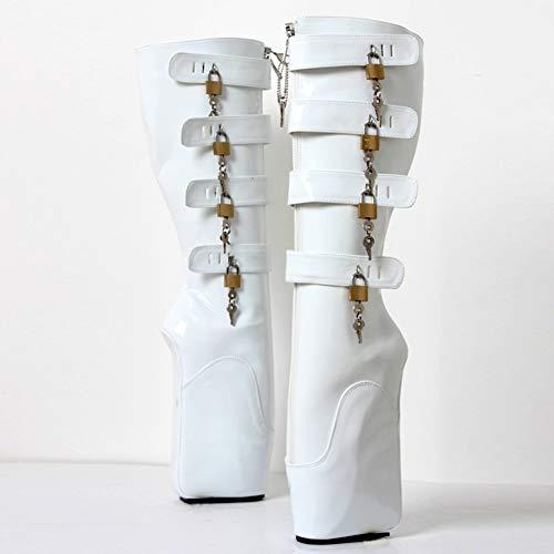 Ballet Boot (COSY-L Extreme Fetisch Ballet Stiefel Damen High Heels mit Schloss 36-46,White,45EU/14US)