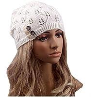 Donna Uncinetto Cappello Inverno Caldo Cappello di lana a maglia, White