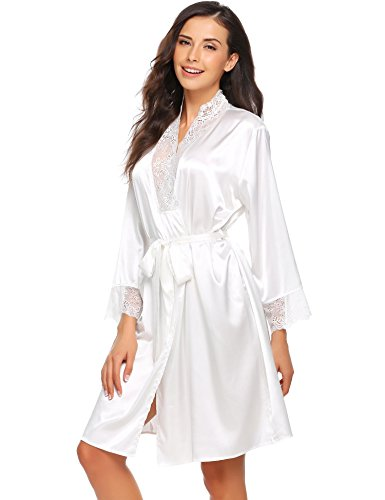 1373ffa99f Ekouaer Womens Long Satin Robes Peacock Blossoms Bridesmaid Kimono Robe  Nightwear Bathrobe Dressing Gowns - Buy Online in Oman.