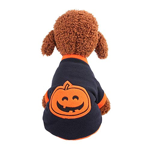 FOONEE Hallowen Haustier-Kostüm, Kürbis-Kostüm, Halloween-Party-Kleid für Welpen und Kätzchen L
