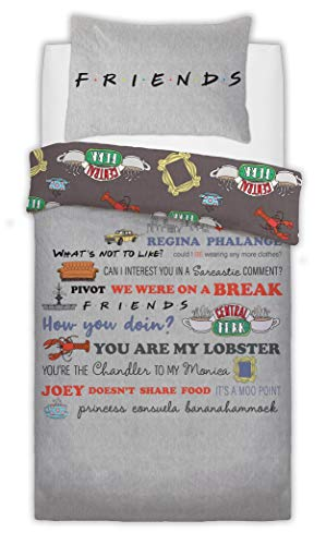 Warner Brothers Reversible Printed Friend Slogan Poly Cotton Duvet Quilt Cover Set, 2 Pcs - Single Best Price and Cheapest