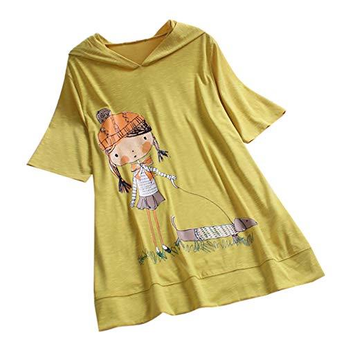 TOPKEAL Lässiger Karikaturdruck Oberteil Kurzarm Plus Größe T-Shirt Mit Kapuze Damen Sommer Elegante Damen Bluse Tunika Frühling Causal Tops Mode 2019
