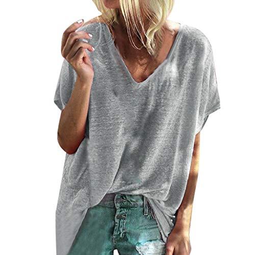 Damen T Shirt, CixNy Bluse Damen Kurzarm Sommer Damen Ärmel Fester Loser Pullover Oberteil Tops (Grau, Small)
