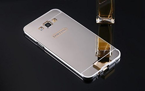AE Luxury Metal Bumper + Acrylic Mirror Back Cover Case For SAMSUNG GALAXY J5 SILVER PLATED