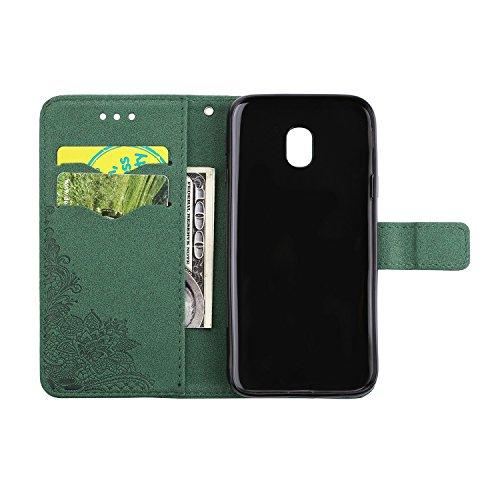 Geprägte Phenix Blüten Bling Shining Resin Rhinestone Pattern PU Leder Brieftasche Case mit Lanyard Card Slots für Samsung Galaxy J5 (2017) Europäische Edition ( Color : Blue ) Green