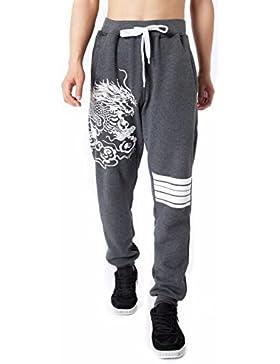 jeansian Hombre Mezcla de algodon Deportes Casual Pantalones Baggy Drawstring Skinny Pants Sweatpants LSS227