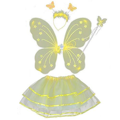 ESHOO Kinder Mädchen Fee Prinzessin Kostüm Schmetterlingsflügel Zauberstab Stirnband Tutu Rock 4 Teile/satz