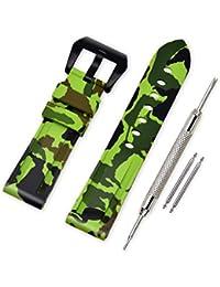 VINBAND Bracelet Montre Camo Remplacer Silicone Bracelet Montre - 20mm, 22mm, 24mm, 26mm Caoutchouc Montre Bracelet avec Acier Inoxydable Boucle for Panerai (20mm, Light Green-Black)