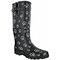 TOSH Wellingtons Festival Dog Paw Black Half & Full Printed Womens Boots