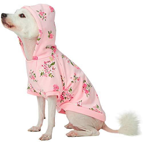 Blueberry Pet Frühlingsduft Inspirierter Margeriten-Blüten Pullover Hunde-Kapuzen-Sweatshirt in Baby Pink, Rückenlänge 30cm, Einzelpackung Bekleidung für Hunde -