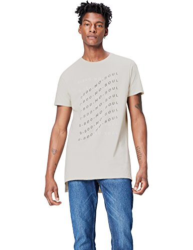 FIND T-Shirt Herren Extralang mit No Soul-Print Grau (Light Grey)