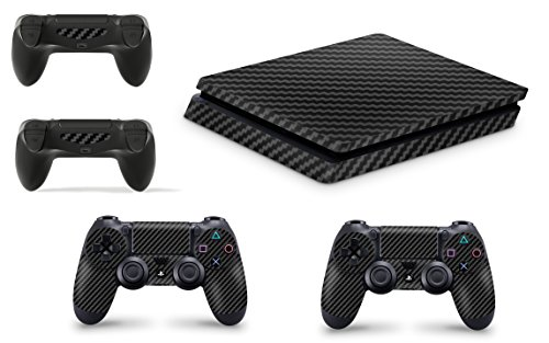 Gizmoz n Gadgetz GNG Adesivi in Vinile per PS4 Slim con Il Logo di Carbonio Nero 3 per Console E per 2X Controllers
