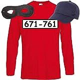 Shirt-Panda Herren Langarm Panzerknacker Kostüm + Cap + Maske + Handschuhe Verkleidung Karneval SET04 T-Shirt/Cap/Maske L