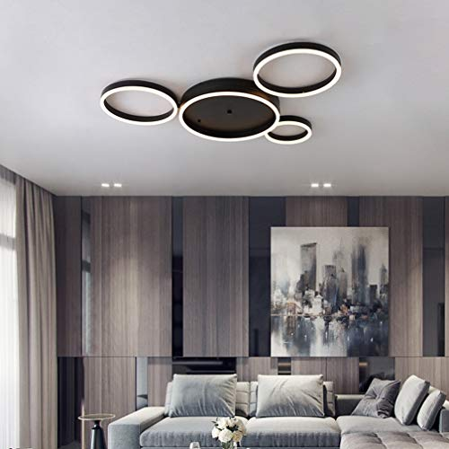 Modern LED Übergroß Deckenleuchte 4 Ringe Design LED Lampe Matt Schwarz Deckenlampe Kreative Wohnzimmerlampe Deckenlicht für Wohnzimmer Büro Kinderzimmer Bürodeckenleuchten,4500k