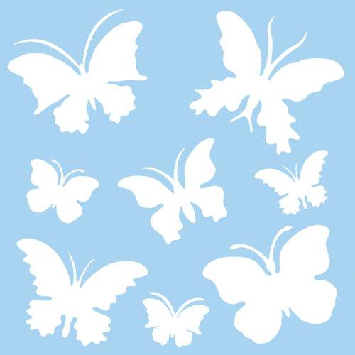 Rayher Hobby pochoir papillon en plastique 30 cm x 30 cm – pochoir dessin 8 motifs env. 5,5 cm-12 cm – pochoir peinture murale souple & indéformable – pour décoration murale – bleu clair