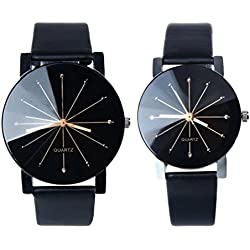 WINWINTOM 1Pair Lovers Leather Wrist Watch Round Case-Black