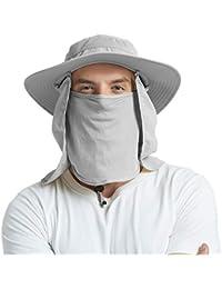 EINSKEY Wide Brim Sun Hat Summer UV Protection Beach Hat Showerproof Safari Boonie  Hat Foldable Fishing d58fbdf9b44e