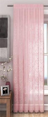 rideau panneau, lacet, l'amour rideaux cardiaques, 142cm x 228cm, rose