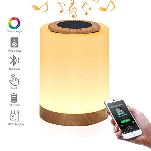 Multicolor Lampe de chevet LED Touch Portable - avec Haut-Parleur Bluetooth, Dimmable Couleur Veilleuse, De plein air Table Lampe avec Controle Tactile, Meilleur cadeau pour Hommes Femmes