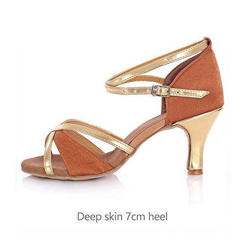 YFF La sala da ballo latino scarpe da ballo donna Tango Salsa donna femmina deep skin 7cm heel