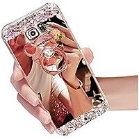 Sycode - Carcasa para Samsung Galaxy J7 2016, carcasa de silicona y TPU para Samsung Galaxy J7 2016, diseño de espejo de oro rosa brillante, brillante, con cristales brillantes, diseño de brillantes, ultrafina, ajuste fino, efecto espejo galvanizado, con función atril para Samsung Galaxy J7 2016, color oro rosa