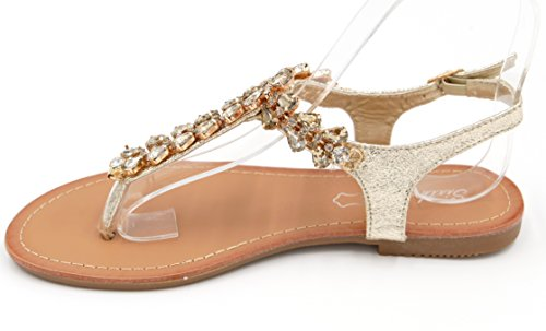 elegante Riemchensandalen Glitzer Zehentrenner Metallic Look Sandaletten (8457) Gold