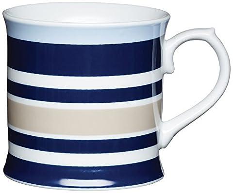 Kitchen Craft 400 ml Porcelain Horizontal Stripe Tankard Shaped Mug, Multi-Colour