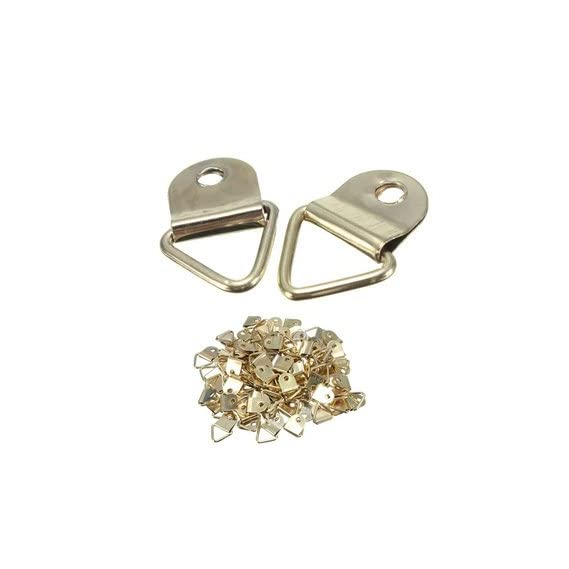 Atoz prime 100pcs Golden Metal Photo Picture Frame Hook Hanger Triangle Ring