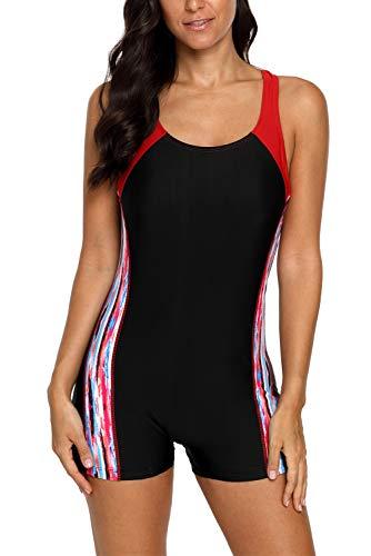 Vegatos Damen Badeanzug Racerback Bademode Einteiler Performance Schwimmanzug mit Bein Figuroptimizer Schwarz Rot 2XL