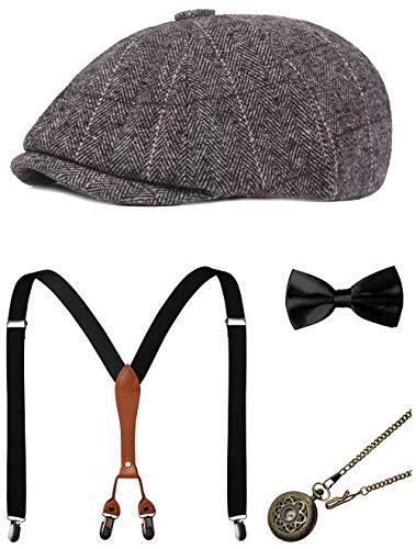 Zivyes 1920s Herren Accessoires Gatsby Gangster Kostüm Zubehör Set Manhattan Fedora Hut Hosenträger Fliege Taschenuhr (8-Grey)