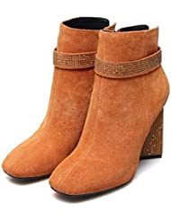 Martin Boots Bottines 8.5cm Chunkly Heel Femmes Square Toe Seude Flash Drill Talon Zipper Robe Chaussures Casual Chaussures Court Chaussures 2017 Automne Hiver New Eu Taille 33-43