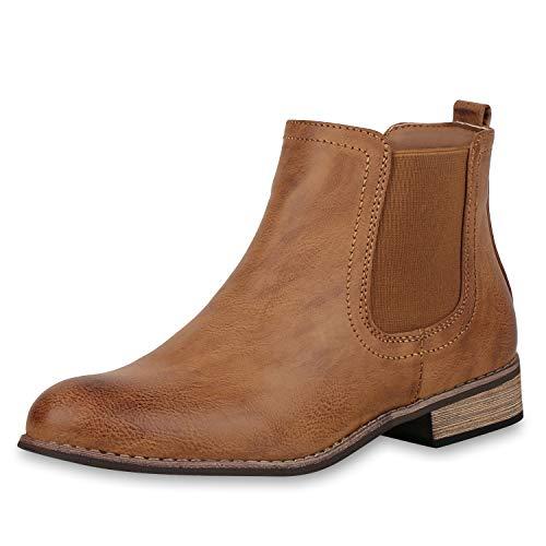 SCARPE VITA Gefütterte Damen Chelsea Boots Leder-Optik Stiefeletten 165408 Braun 41