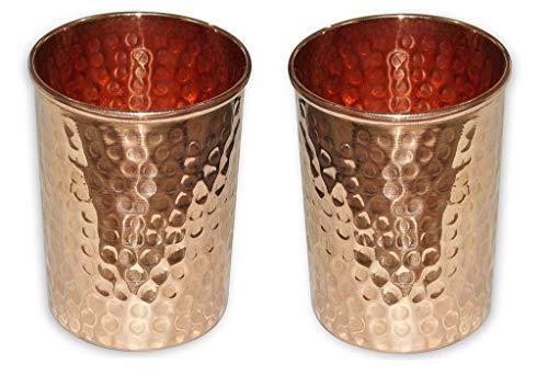 Handgefertigte Kupferbecher aus reinem Kupfer, für Wasser, Kupfer-Wasserglas, Gesundheitsvorteile, 2er-Set Hammered