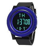 Gummi Sport Uhr HARRYSTORE Luxus Männer Analog Digital Militär Armee Sport LED Wasserdichte Armbanduhr (Blau)