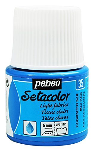 Setacolor Light Fabrics Paint is available in 25 colors in 45 ml (5 are fluorescent); 20 colors are available in 250ml and 18 in 1 liter bottles;The paint is air dry in 1-hour; it can be fixed by either ironing (cotton position), for 5 minutes, on th...