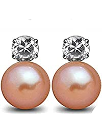 findout 925 sterling silver Cubic Zircons natural white / pink freshwater pearls 8-10mm earrings (f1360)