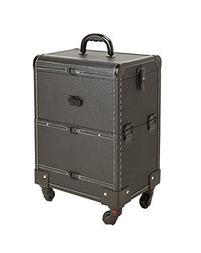 Black Trolley Makeup Case, Rolling Makeup Travel Case,3 Layer,4 Removable Travel Wheels/Lockable Keys, Kosmetik-Trolley Cart Beauty Artist Organizer Stylist,roundedangle