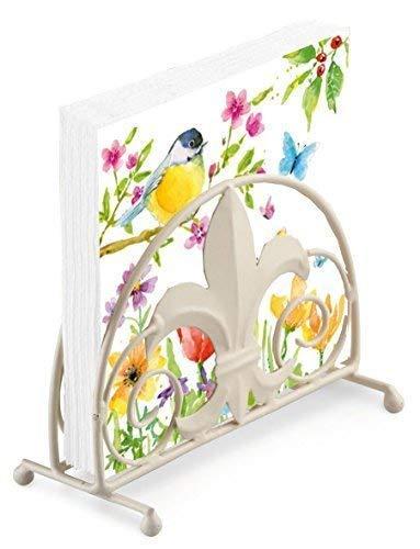 Vogel Schmetterling Blume Zweig 20 x 3-lagige Papierservietten & Jakobslilie Serviettenhalter Set - Serviettenhalter Vögel