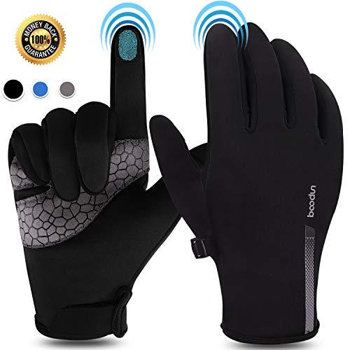 BOILDEG Fahrradhandschuhe Winter Touchscreen Handschuhe Laufhandschuhe Winter Fleece Handschuhe Sporthandschuhe Ajustable Größe Für Herren und Damen